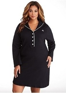 Lauren Ralph Lauren Hartford Lounge Shawl Collar Knit Sleep Shirt Plus Size