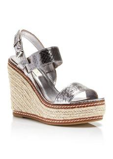 Lauren Ralph Lauren Platform Wedge Espadrille Sandals - Serana Snake Print