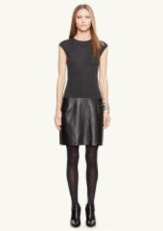 Leather-Skirt Cashmere Dress