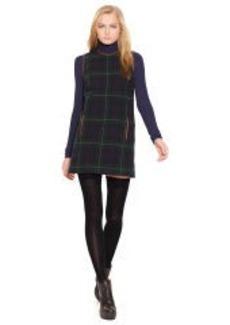 Leather-Trim Plaid Shift Dress