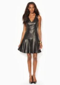 Leather V-Neck Dress