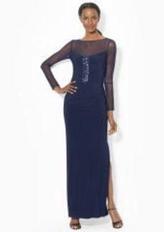 Mesh-Yoke Long-Sleeved Gown
