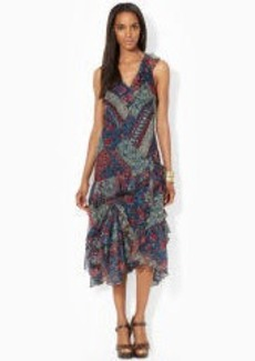 Patchwork Ruffled V-Neck Dress