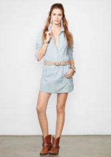 Pintucked Chambray Dress