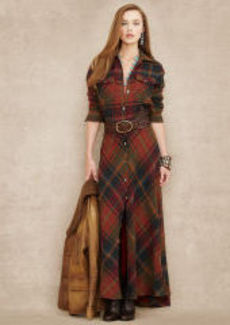 Plaid Wool-Cashmere Maxidress