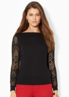 Pointelle-Sleeved Boatneck Top