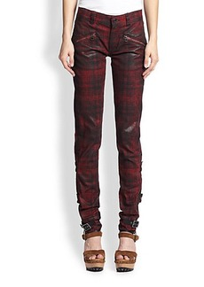 Polo Ralph Lauren Coated Plaid Skinny Jeans