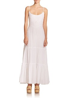 Polo Ralph Lauren Embroidered & Tiered Maxi Dress