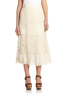 Polo Ralph Lauren Lace Embroidered Wrap Skirt