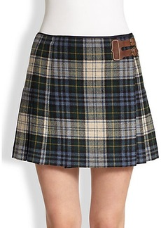 Polo Ralph Lauren Leather-Detail Kilt Skirt