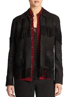 Polo Ralph Lauren Leather Fringe-Trim Jacket
