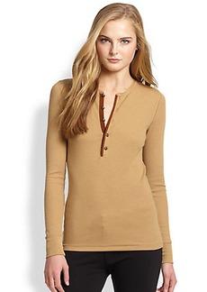 Polo Ralph Lauren Leather-Trim Knit Top