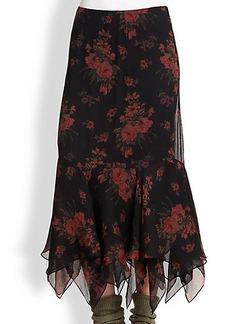 Polo Ralph Lauren Silk Floral-Print Skirt