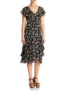 Polo Ralph Lauren Silk Floral Ruffled Dress
