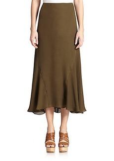 Polo Ralph Lauren Silk Tea-Length Skirt