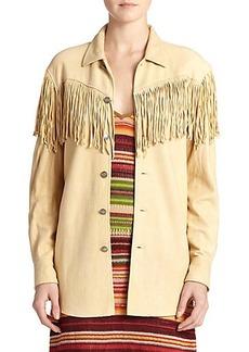 Polo Ralph Lauren Suede Fringe-Trim Shirt