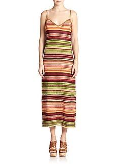 Polo Ralph Lauren Suede-Trim Serape Maxi Dress