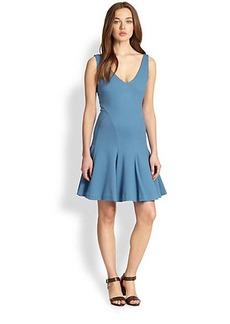 Polo Ralph Lauren Jersey V-Neck Pleated Dress
