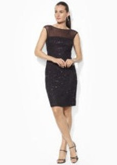 Sequined-Lace Boatneck Dress