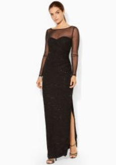 Sequined-Lace Boatneck Gown