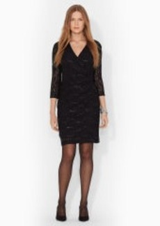 Sequined-Lace Surplice Dress
