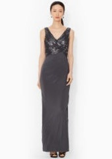 Sequined-Mesh V-Neck Gown