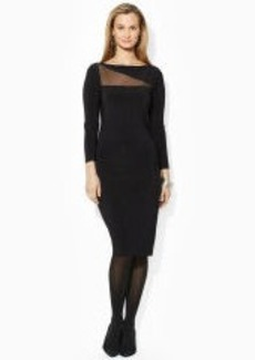 Sheer-Panel Long-Sleeved Dress