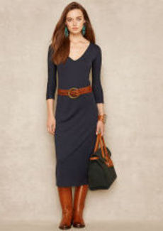 Silk-Blend V-Neck Maxidress