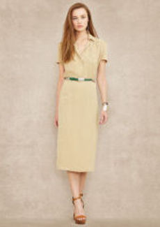 Silk Crepe Belted Dress