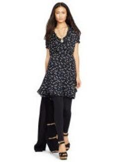 Silk Crepe Surplice Dress