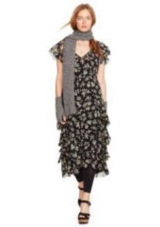 Silk Floral Ruffled Dress