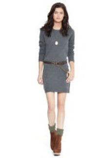 Suede-Patch Sweater Dress