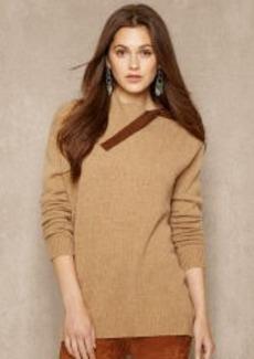 Suede-Trim Wool Pullover