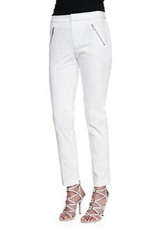Ava Textured Straight-Leg Pants, Chalk   Ava Textured Straight-Leg Pants, Chalk