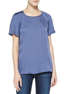 Back Pleat-Detail Silk Top   Back Pleat-Detail Silk Top