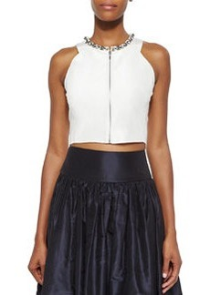 Beaded Zip-Front Crop Top, Sea Salt   Beaded Zip-Front Crop Top, Sea Salt