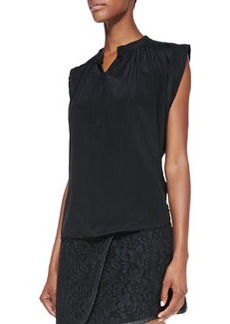 Cap-Sleeve Relaxed Crinkled Top   Cap-Sleeve Relaxed Crinkled Top