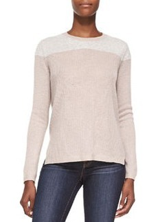 Cashmere Fuzzy-Yoke Pullover Sweater   Cashmere Fuzzy-Yoke Pullover Sweater