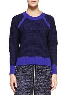 Contrast-Trim Knit Pullover Sweater   Contrast-Trim Knit Pullover Sweater