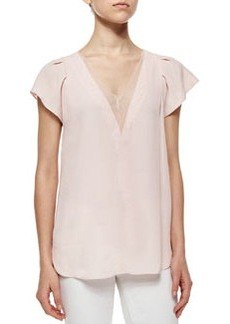 Crepe V-Neck Top w/Chiffon Trim, Faded Blossom   Crepe V-Neck Top w/Chiffon Trim, Faded Blossom