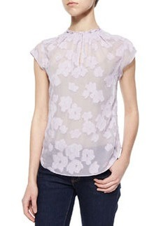 Floral-Embroidered Sheer Blouse   Floral-Embroidered Sheer Blouse