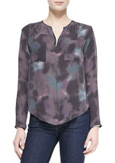 Floral Haze Watercolor-Print Silk Blouse   Floral Haze Watercolor-Print Silk Blouse