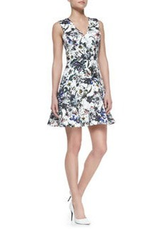Floral-Print A-Line Sleeveless Dress   Floral-Print A-Line Sleeveless Dress