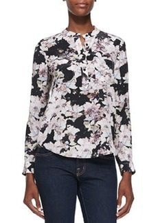 Floral-Print Double-Pocket Blouse   Floral-Print Double-Pocket Blouse