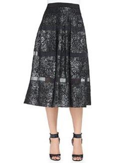 Foiled/Sheer-Stripe A-Line Midi Skirt   Foiled/Sheer-Stripe A-Line Midi Skirt