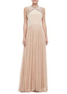 Georgette Sleeveless Gown   Georgette Sleeveless Gown