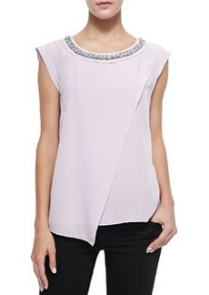 Jewel-Neck Silk Crossover Blouse   Jewel-Neck Silk Crossover Blouse