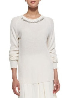 Knit Embellished-Neck Pullover   Knit Embellished-Neck Pullover
