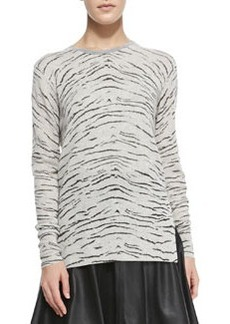 Knit Tiger-Print Long Pullover   Knit Tiger-Print Long Pullover