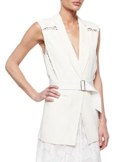 Lace-Inset Belted Suiting Vest   Lace-Inset Belted Suiting Vest